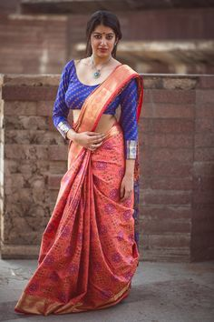 Beautiful Peach Color Patola Silk Thread Work Party Wear Saree A marvelous display of intricate traditional artistry is this fashionable peach color party wear saree. This gorgeous saree is crafted of patola silk fabric which gives you a rich traditional Indian Blouse Designs, Silk Saree Banarasi, Soft Silk Sarees, Fancy Sarees, Party Wear Sarees, Beautiful Saree, Beautiful Indian Actress, Indian Beauty Saree, Indian Sarees
