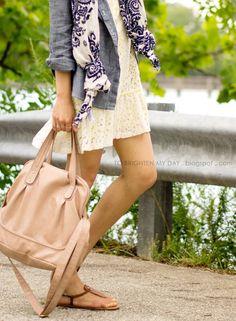 Nude sandals, dress, scarf