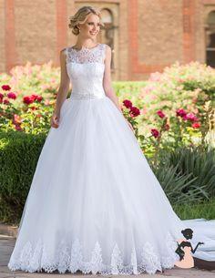 vestido de noiva renda chantilly princesa aluguel sp