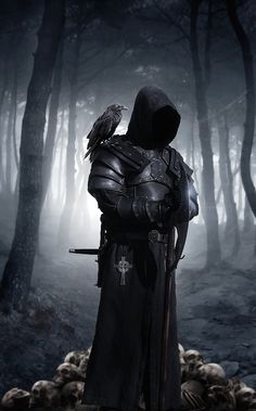 When all you see is a silhouette dressed all in black in a dark forest. You run.