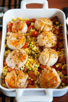 Pan-Seared Scallops on Fresh Corn and Roasted Tomatoes
