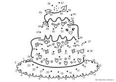 Dra streck mellan 1 och 60 och se hur den söta tårtan tar form. Det här är ett roligt sätt att lära dig räkna till sextio. Sedan kan du göra mattepysslet ännu mer skoj genom att färglägga bilden. D...
