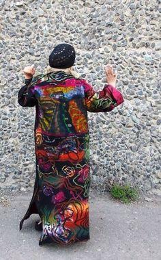 Фотография Funky Fashion, Fashion Sewing, Colorful Fashion, Made Clothing, Nuno Felting, Wool Felt, Fiber Art, How To Wear, Inspiration