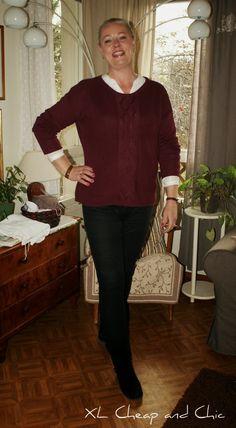 XL Cheap & Chic: Viininpunainen neulepusero ja aamupalajuttuja - Wi...