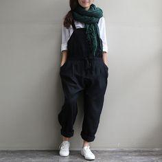 Black Wide leg Plus size Harem jumpsuit
