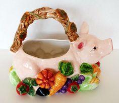 Large Ceramic Pig Fruit Basket Serving Dish Planter Signature Home Collection