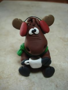 Moose with Hot Chocolate Clay Figurine.
