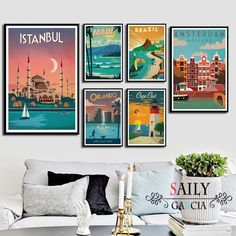 """""""Hd Print Canvas Art Painting New York Netherlands Amsterdam London Vintage Travel Cities Landscape Posters Wall Art Picture"""" City Canvas Art, Large Canvas Wall Art, Diy Canvas, Amsterdam, Images D'art, Wall Art Pictures, Home Decor Wall Art, Room Decor, Vintage Wall Art"""