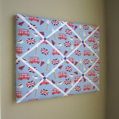 "16""x20"" Memory Board or Bow Holder-London Calling Blue Icons"