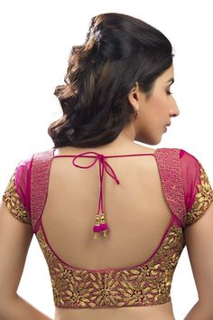 Dark #pink & #gold festive wear raw silk & #net #blouse with cap sleeves -BL557