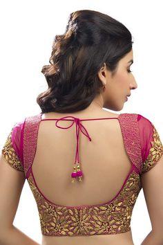 Dark #pink & #gold festive wear raw silk & #net #blouse with cap sleeves -BL557