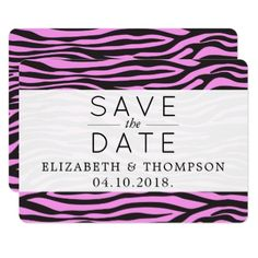 Save the Date - Animal Print Zebra Stripes - Pink Card - wedding invitations diy cyo special idea personalize card