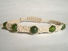 Macrame Bracelet  Jade Gemstones  Beige Hemp by LOVEwhatIdoDesigns