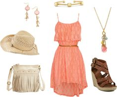 Peachy Pink sleeveless dress with brown strappy sandals. Coordinated with a coral pink pendant and pastel pin earrings. Beautiful outfit idea for a day in the sun.