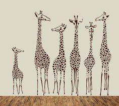 Giraffe Animal Nursery Wall Decal Children Safarin by PurpleWall, $79.00