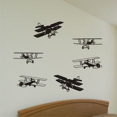Wall Decal - Bi-Planes - Vinyl Wall Decal Art Graphics Stickers. $22.50, via Etsy.
