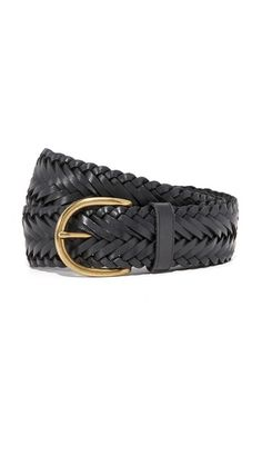 """4eec7f23eed9b7 Below the Belt """"Brooklyn Suede"""" Genuine Leather Braided Belt in Black with  Gold Hardware"""