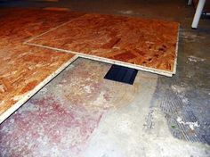 Laying a Subfloor - Floor Panels Detail & Subfloor Options for Basements | Basements Basement subfloor and ...