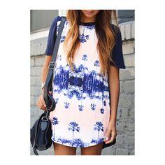 Rotita Round Neck Cotton Blend Printed Shift Shirt Dress (145 NOK) ❤ liked on Polyvore