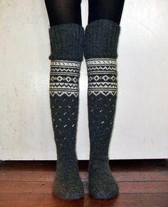 Long Above the Knee Hand-knitted Grey White Wool Winter Socks Scandinavian. $60.00, via Etsy.