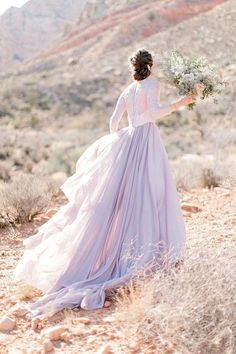 Organza Wedding Dresses Lavender wedding gown with sheer sleeves and floral appliques - Lavender Wedding Dress, Floral Wedding Gown, Wedding Dress Organza, Western Wedding Dresses, Colored Wedding Dresses, Perfect Wedding Dress, Wedding Attire, Dream Wedding, Purple Wedding