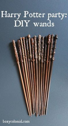 Chop sticks (more inexpensive) or knitting needless for DIY Harry Potter wands.