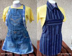Upcycled jeans and shirt apron.  Kötény - farmer és ing újrahasznosítással.