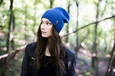 Blue beanie with silver pins. Comfortable, ideal for outdoor activities.  Fall-winter 2016–2017. #beanie  Szaleo.pl | Be new fashioned & accessorized!