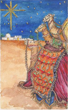 Watercolour painting for christmas - ''Bethlehem''