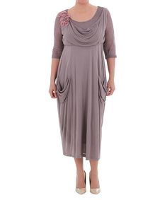 Look what I found on #zulily! Beige Drape Three-Quarter Sleeve Dress - Plus by La Mouette #zulilyfinds