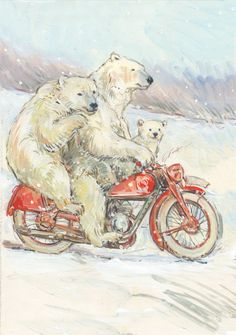 Claire Fletcher 3 bears on a motorbike
