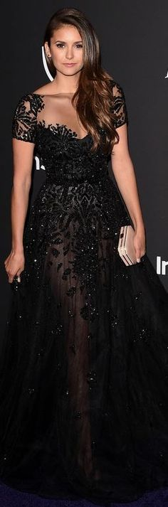 Who made Nina Dobrev's black gown that she wore in Beverly Hills on January 11, 2015?
