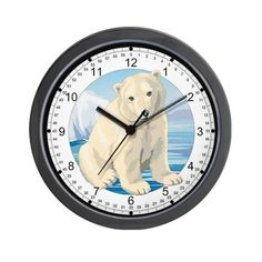 CafePress  Baby Polar Bear Wall Clock  Unique Decorative 10 Wall Clock *** Visit the image link more details.