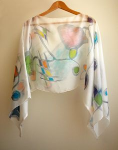 Silk blouse hand painted - Silk scarf- Wedding blouse- Scarves for her- Silk handpainted