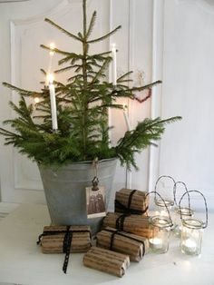 Simple Christmas Tree in Bucket Live Christmas Trees, Noel Christmas, Primitive Christmas, Country Christmas, All Things Christmas, Simple Christmas, Winter Christmas, Christmas Candles, Xmas Tree