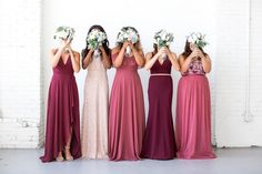 Mix + match maids, red + burgundy edition (link in bio to shop red bridesmaid dresses
