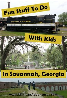 Savannah, Georgia is a great travel destination for families! Check out this list of kid-friendly activities the entire family will enjoy! ---- Trolley Tours | Pirates' House | Georgia State Railroad Museum | Fort Pulaski | Savannah Children's Museum | Forsyth Park | Jepson Center | Tybee Island | River Street #Savannah #Georgia #USA #FamilyTravel #Vacation #TravelWithChildren