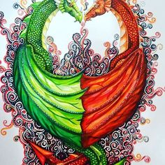 Awesome dragon illustration created by @monkeybear72 for Valentines day.  #dragons #pens #love #valentinesDay #art #pens #chameleonPens #fantasy #mystical #mythical #draw #drawing #artwork #illustration #colour #color