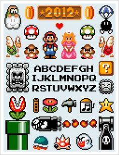 Super Mario Bros. Cross Stitch Sampler