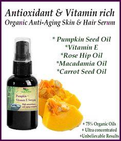 Organic Pumpkin  Vitamin E Serum Concentrated Anti Aging Serum Skin Care rebuilds collagen  Natural Vitamin E Serum Face Serum  Eye Serum (19.95 USD) by SimplyRadiantBeauty