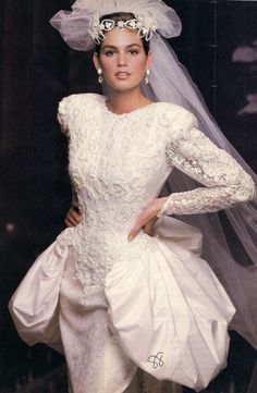 Cindy Crawford in a 1980s bridal dress.