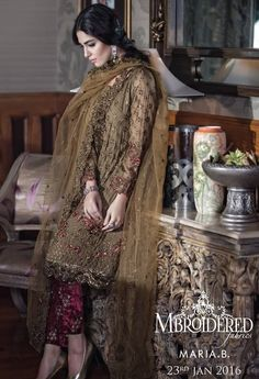 Maria b winter collection 2016 embroidered luxury edition