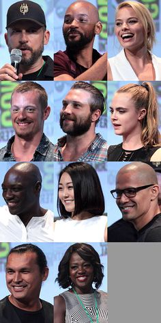 SUICIDE SQUAD: Left to right: Director David Ayer, Will Smith, Margot Robbie, Joel Kinnaman, Jai Courtney, Cara Delevingne, Adewale Akinnuoye-Agbaje, Karen Fukuhara, Jay Hernandez, Adam Beach, and Viola Davis at the 2015 San Diego Comic-Con International.