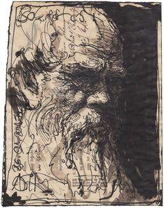 """""""Sokrates"""" 21 x 16,5 cm, Federzeichnung 2017"""