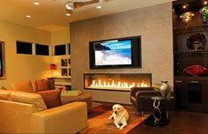Adding the Dazzling Fireplace to Warm your Home Interior Design: Contemporary Living Room With Fireplace Under The TV Tv Over Fireplace, Basement Fireplace, Concrete Fireplace, Home Fireplace, Modern Fireplace, Fireplace Design, Fireplaces, Linear Fireplace, Concrete Wall