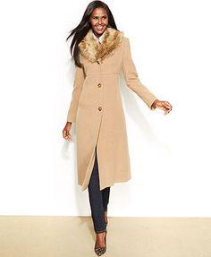Calvin Klein Wool-Blend Belted Maxi Walker Coat - Coats - Women