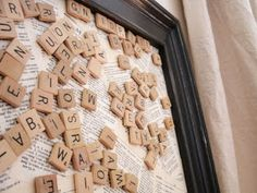 Great idea for a roommate message board! Put magnets on the back of scrabble game pieces.