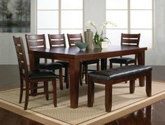 ee4ce894d7245 Crown Mark 7 pc Bardstown dark wood finish dining table set with vinyl  upholstered chairs