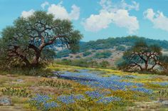 Texas:Early Texas Art - Regionalists, WILLIAM A. SLAUGHTER (American, 1923-2003). Bluebonnets andCacti on a Texas Hillside. Oil on canvas. 24 x 36 inches (61... Image #1