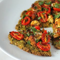 Vegan Richa: Chickpea Quinoa Chard Pizza topped with Roasted Cauliflower and grape tomatoes. vegan glutenfree nutfree